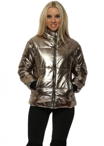 Gold Foil Look Quilted Jacket