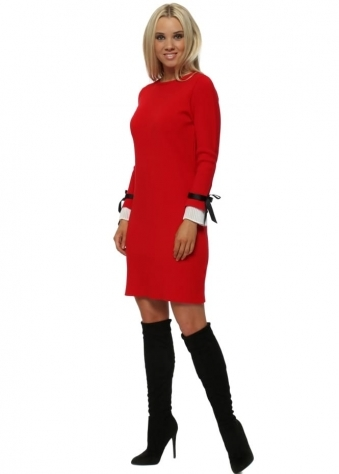 Red Contrast Pleated Cuffs Midi Jumper Dress