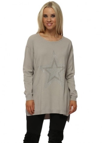 Beige Pearlescent Crystal Star Relaxed Jumper