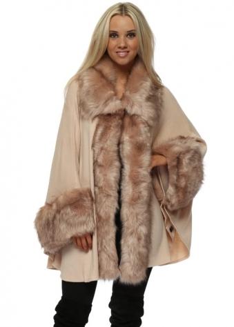 Luxurious Nude Pink Faux Fur Cape Coat