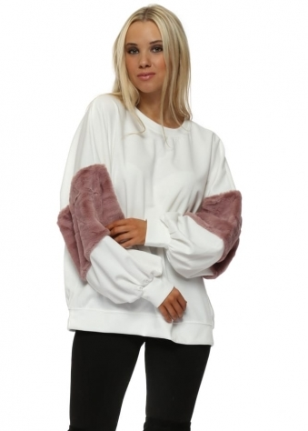 White Faux Fur Panel Baggy Sleeve Sweater