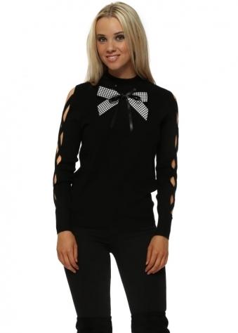 Black Lattice Sleeve Monochrome Bow Jumper