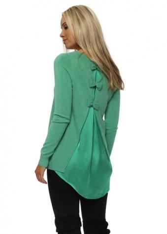 Green Satin Bow Back Jumper