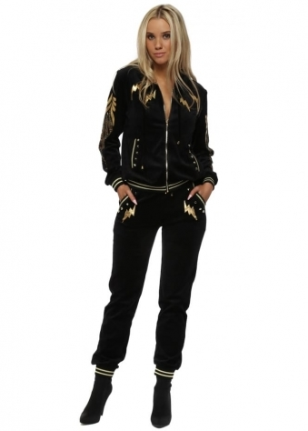 Black Velour Gold Lightening Crystal Embellished Tracksuit