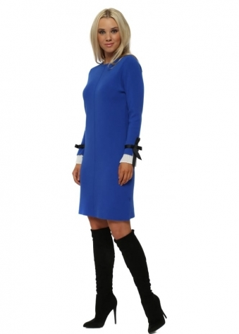 Cobalt Contrast Pleated Cuffs Midi Jumper Dress