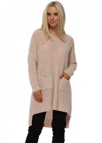 Nude Fluffy Knit Oversized Pockets Jumper