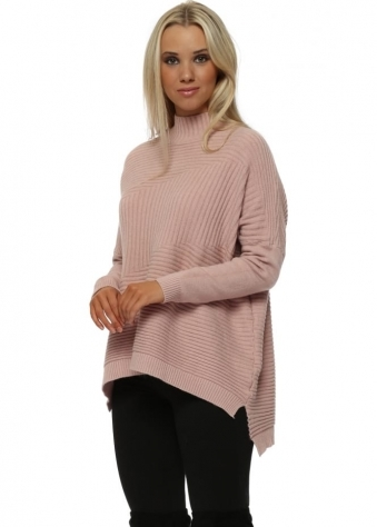 Nude Pink Turtle Neck Ribbed Jumper