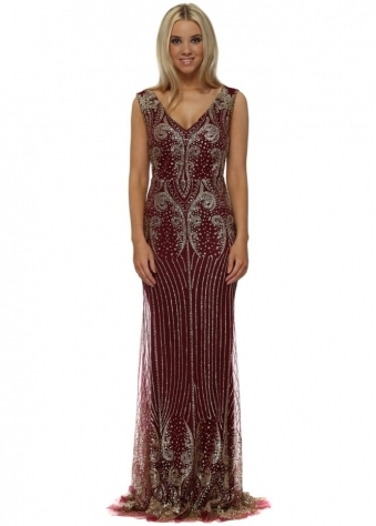 Burgundy & Gold Glitter Sequins Fishtail Evening Dress