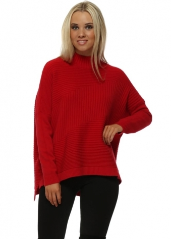 Red Turtle Neck Ribbed Jumper