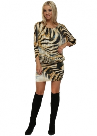 Black Animal Print Bandeau Hem Mini Dress