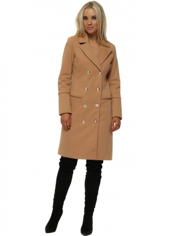 Gold Button Double Breasted Tailored Camel Coat