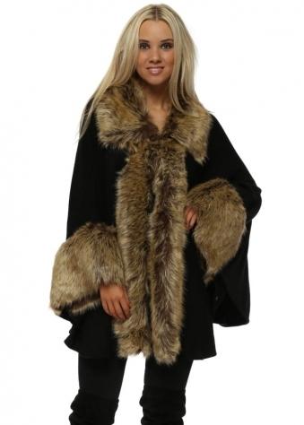 Luxurious Black With Brown Faux Fur Cape Coat
