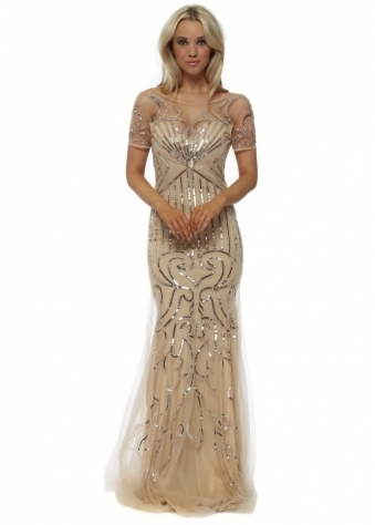 Gold Sequinned Mesh Short Sleeved Evening Dress