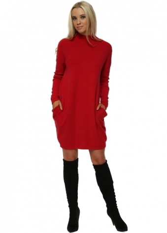 Red Side Pockets Ribbed Jumper Dress