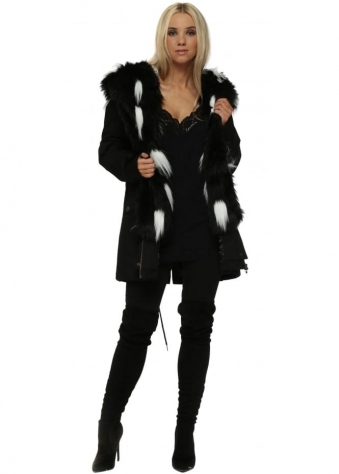 Black Parka With Detachable Black & White Faux Fur Gilet