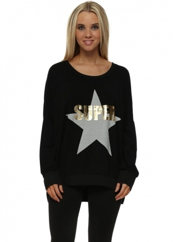 Black Gold Foil Super Star Logo Sweater