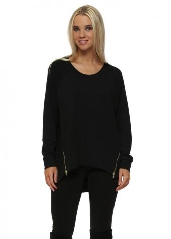 Simone Black Zip Dip Hem Sweater