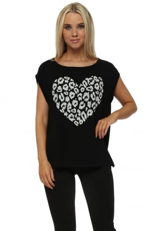 Sexy Skin Heart Printed Sweater In Black