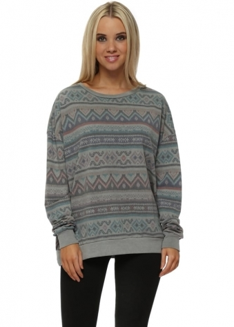 Fran Aztec Sweater In Thunder
