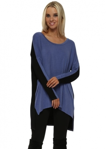 Toni Two Tone Indigo Melange Tunic Top