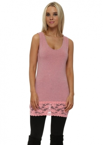 Coraline Melange Sammy Lace Hem Long Vest