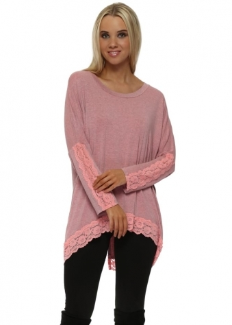 Patsy Coraline Melange Lace Insert Trimmed Tunic Top