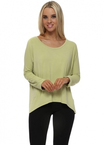 Karma Long Sleeve Slouch Top In Golden Lime