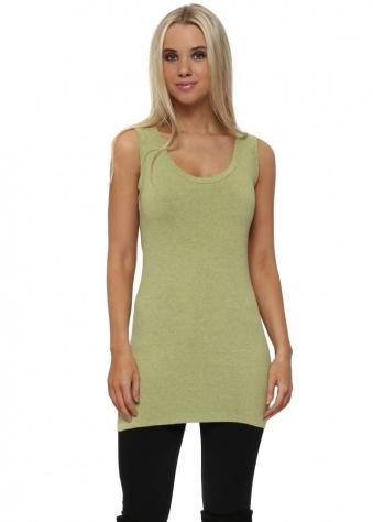 Plain Cut Edge Vest In Golden Lime Melange