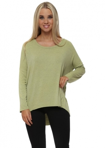 Holly Jersey Tunic Top In Golden Lime Melange