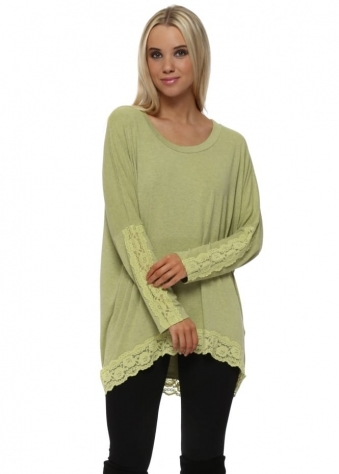Patsy Golden Lime Melange Lace Insert Trimmed Tunic Top