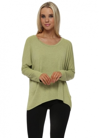 Karma Long Sleeve Slouch Top In Golden Lime Melange