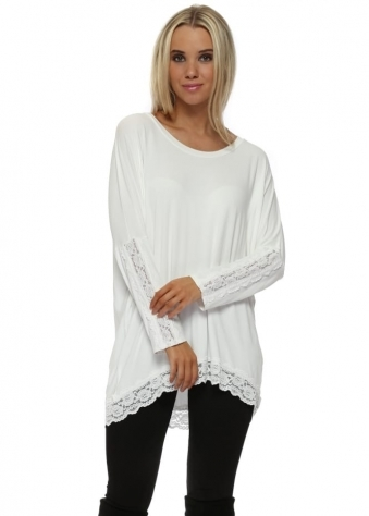Patsy Vanilla Lace Insert Trimmed Tunic Top
