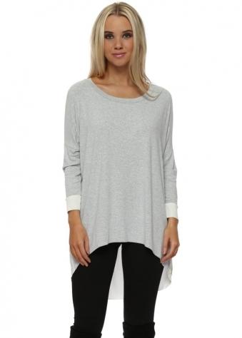 Shirty Vanilla Melange Contrast Tail Back Tunic Top