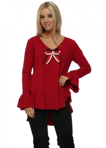 Red Pearl Bow Ruffle Dip Hem Jumper