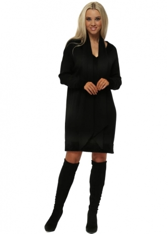 Soft Black Knitted V Neck Jumper Dress With Scarf