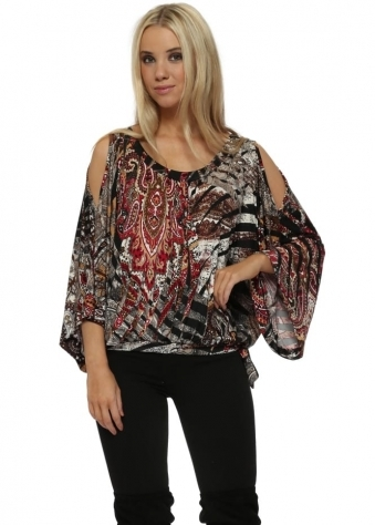 Red & Black Paisley Jagged Cold Shoulder Top