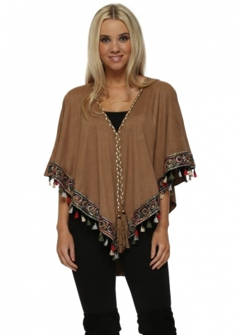Brown Suede Multi Coloured Tassel Boho Trim Short Poncho