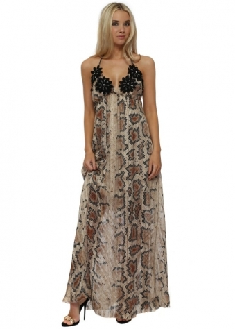 Snakeskin Print Diamonte Black Flower Maxi Dress