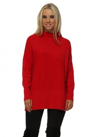 Red Roll Neck Block Ribbed Jumper