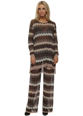 Brown Zig Zag Knit Jumper & Pants Lounge Set