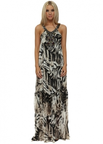 Aztec Embellished Exotic Zebra Print Tiered Maxi Dress