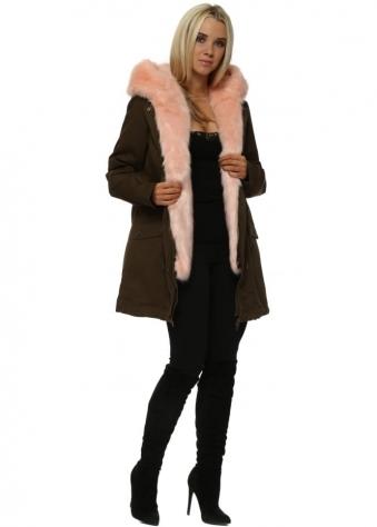 Khaki Parka With Detachable Pink Faux Fur Gilet