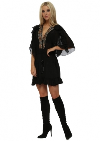 Black Chiffon Sequin Panel Mini Dress