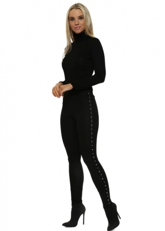 Black Pearl Embellished Leggings
