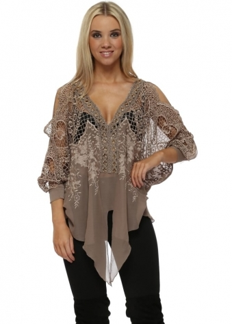 Taupe Embroidered Gold Circle Tie Front Top