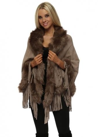 Mocha Suedette Fringe Cape With Faux Fur Collar