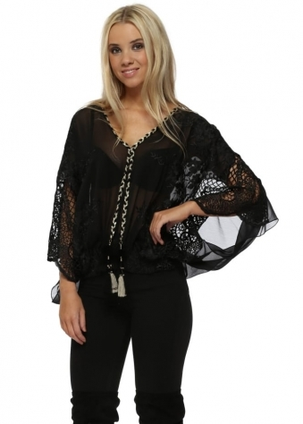 Black Embroidered Lace Tassle Top