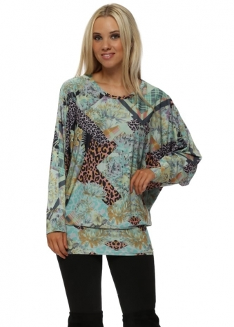Phoebe Patcha Tunic Dress In Winter Sea