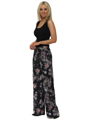 Shelby Black Sensual Sequin Floral Palazzo Pants