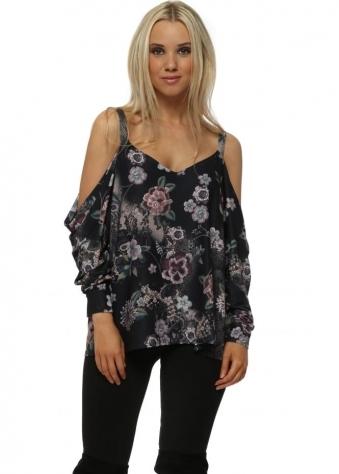 Selena Black Sensual Sequin Floral Cold Shoulder Top